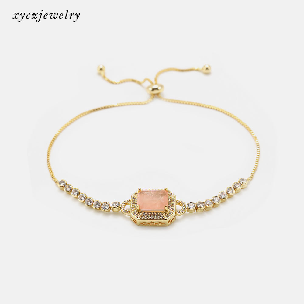Hot selling cz peach pink rectangle fusion stone adjustable bracelet bangle wholesale