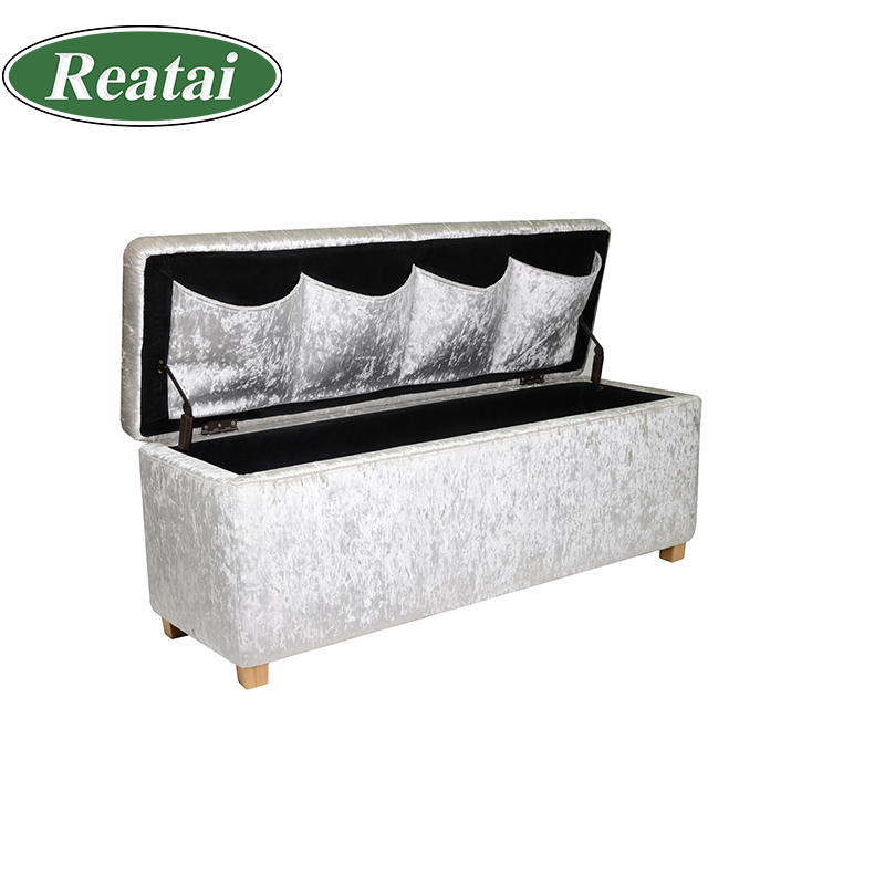 Reatai bench product factory sliver white velvet fabric beauty nail setting salon bench for waiting