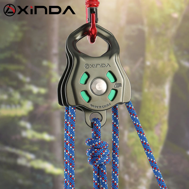 Xinda CE UIAA certified hot sale climbing aluminium double pulley with ball bearing for rescue traversing lifting