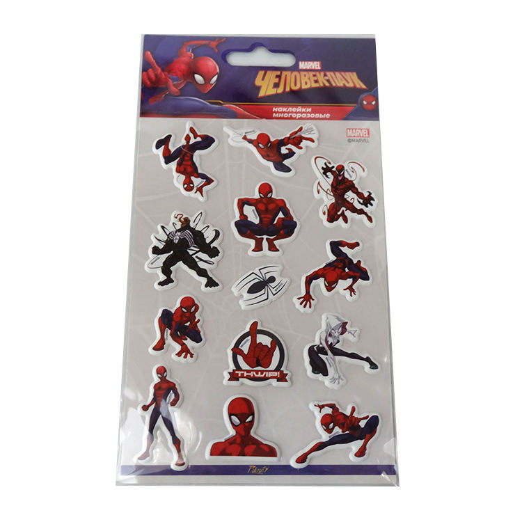 Custom Cartoon Charactor Spider Man <span class=keywords><strong>Stickers</strong></span> Kinderen 3D Puffy Sticker
