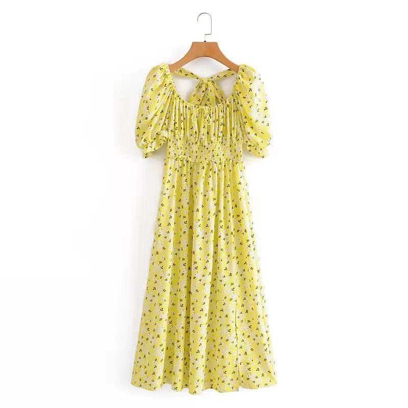 2021 spring new French retro square neck puff sleeves light yellow long skirt with waist and thin temperament fairy side split f