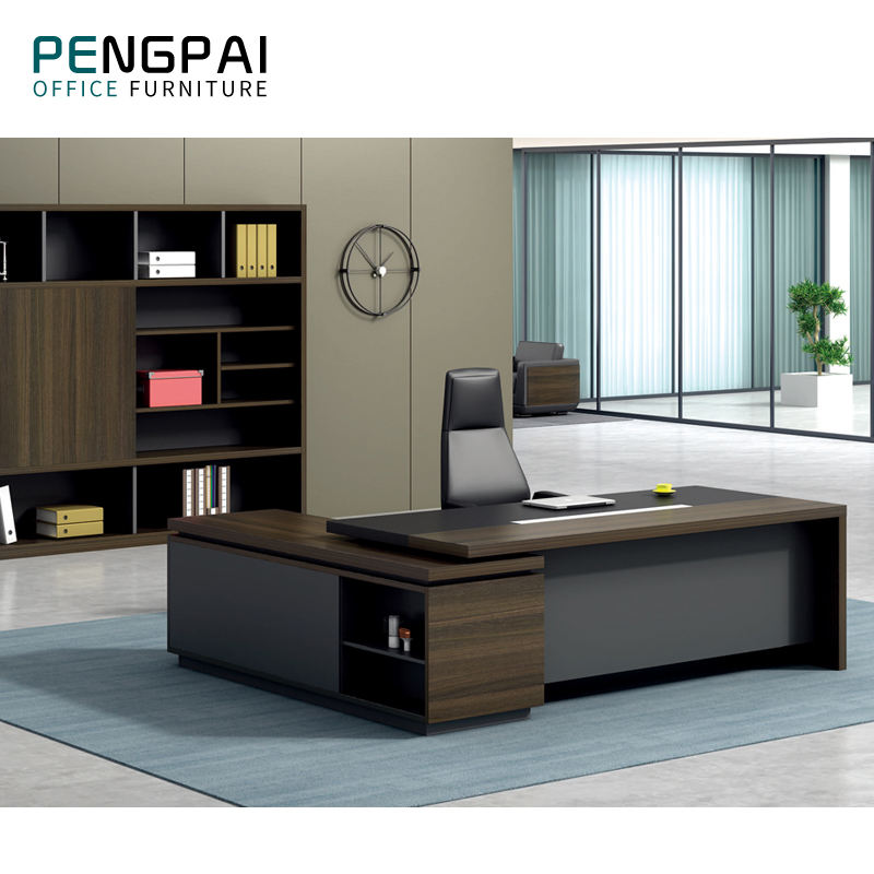 Pengpai l shaped executive office table new design modern desk chair computer office