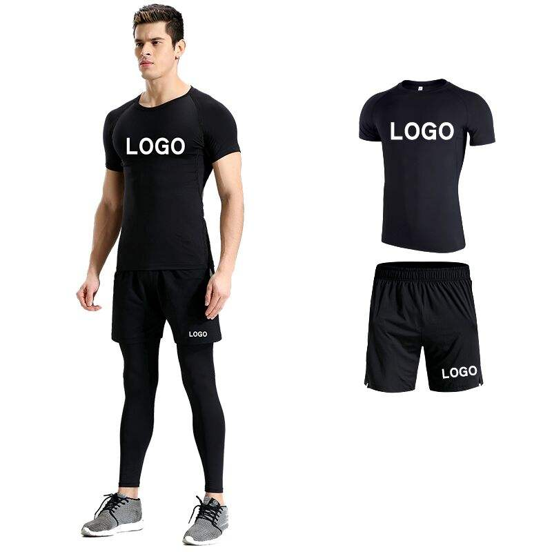 2020 apparel 3 pieces set mens compression fitness clothing with quick dry gym wear fitness yoga wear