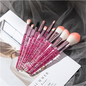 18.8cm Solution 10 Pcs Crystal Diamond Bling Glitter Colorful Makeup Brushes Set