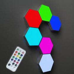 2020 new arrivals RGB Touch Sensitive Night Lamp Modular Quantum Honeycomb Wall Light Hexagon Modular Touch Lights with Remote