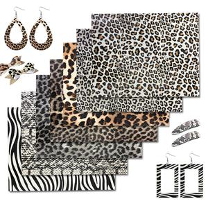 A4 Size Foiled Leopard Print PU leather Faux Leather Sheets Synthetic Leather for Bags ,earrings,bows DIY Crafts