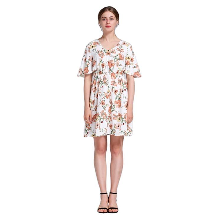 2021 Spring Wholesale Ruffle Sexy Short Flare Sleeve Mid-Calf Length Good Quality V-neck Digital Print Floral Spring Dress