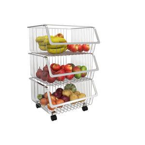 Vegetable rack Vierst/öCkiges K/üChenregal Bodenstehende Obst- Und Gem/üSeregale Wei/ß Multifunktionaler Ablagekorb