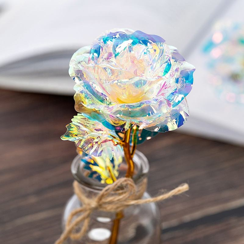 Hot Sale Rainbow Galaxy Rose 24k Gold Dipped Roses Flower with Spring Switch Flash LED Valentine's day gift Mather's Day gift