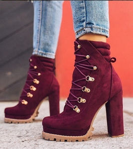Women's Casual Platform Booties Thick Ankle Boots Ladies High Heels Lace Up Boots Autumn and Winter Fashion Women's Shoes