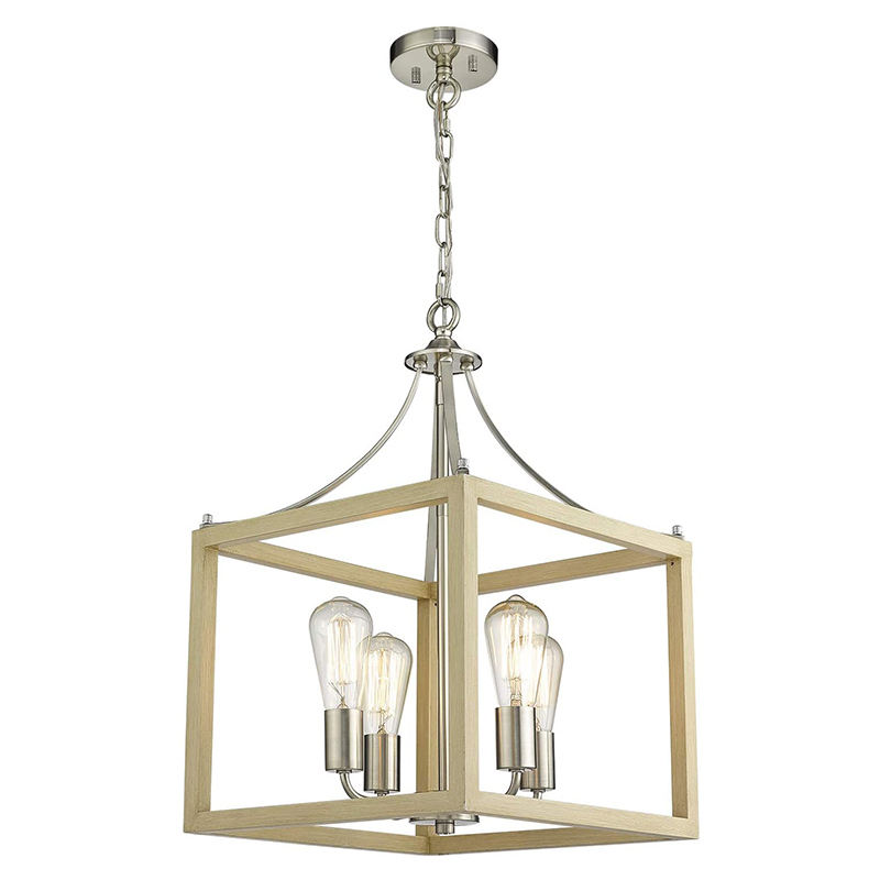 Wood Grain and Satin Nickel Finish Modern Pendant Hanging Light for Hall Dining Room Foyer Lantern 4-Light Chandelier