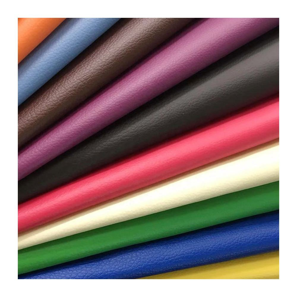Wholesale factory different colors lichee pattern pvc faux leather for making sofa and furniture material