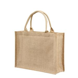 2020 eco 100% burlap jute tote bag custom logo shopping bag
