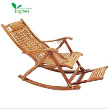 YIQING Lounge Chair Not Extended Foldable Recliners Rocking Chair Bamboo Folding Outdoor Rocking Chairs for Adult