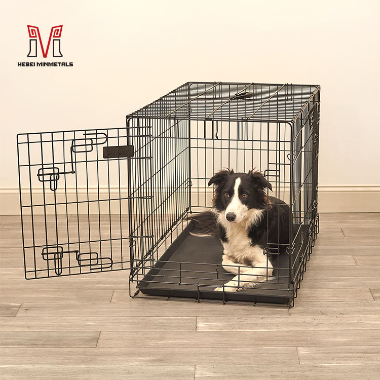 Wholesale metal folding heavy duty tube cage steel crate pet containment dog kennel outdoor