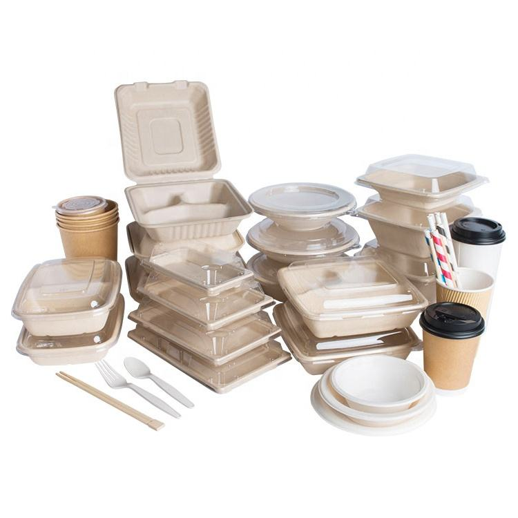 Easy Green Free Sample Eco-friendly Disposable Biodegradable Compostable Products Bagasse Dinner Set