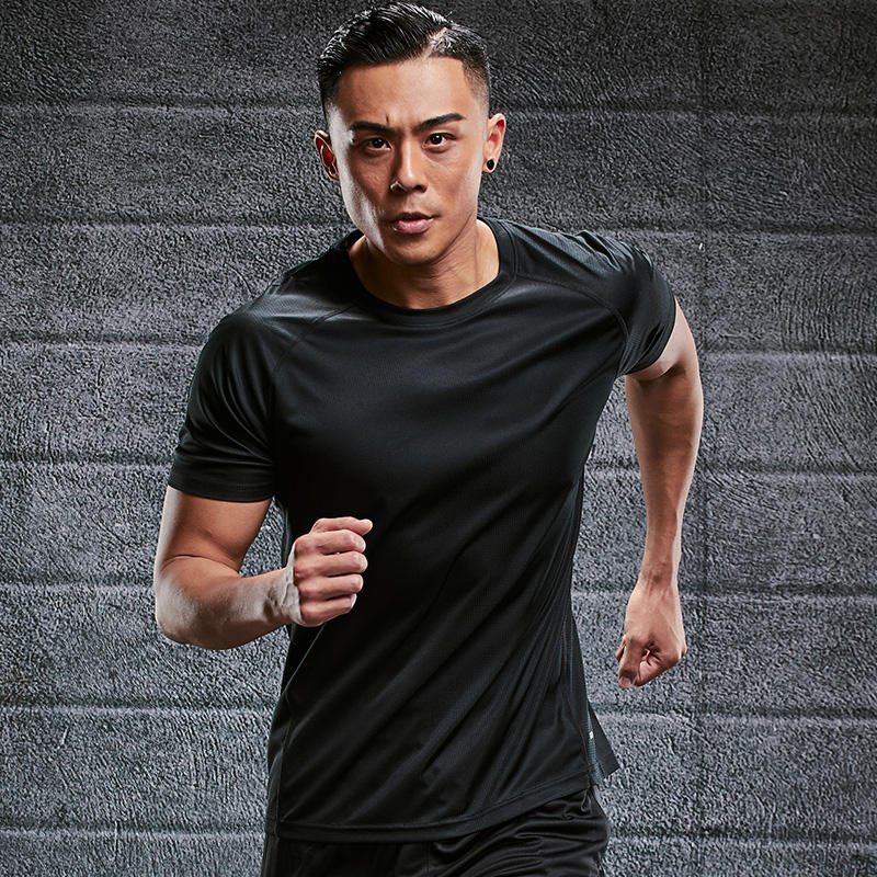Summer Mens Gym Sports Fitness T-Shirt Blank Training Running Tight T Shirt Elastic Quick-Dry Tops Tees Custom