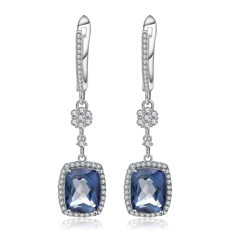 Bezel Earrings Iolite Quartz Earrings Beautiful Dangle Earrings for Women Gold Plated Earrings 925 Stearling Silver Girls