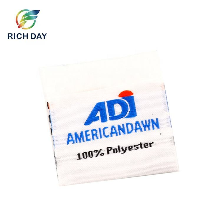 Factory Printing High Quality Clothing Woven Label 100% Polyester Label Woven Stick On Garments