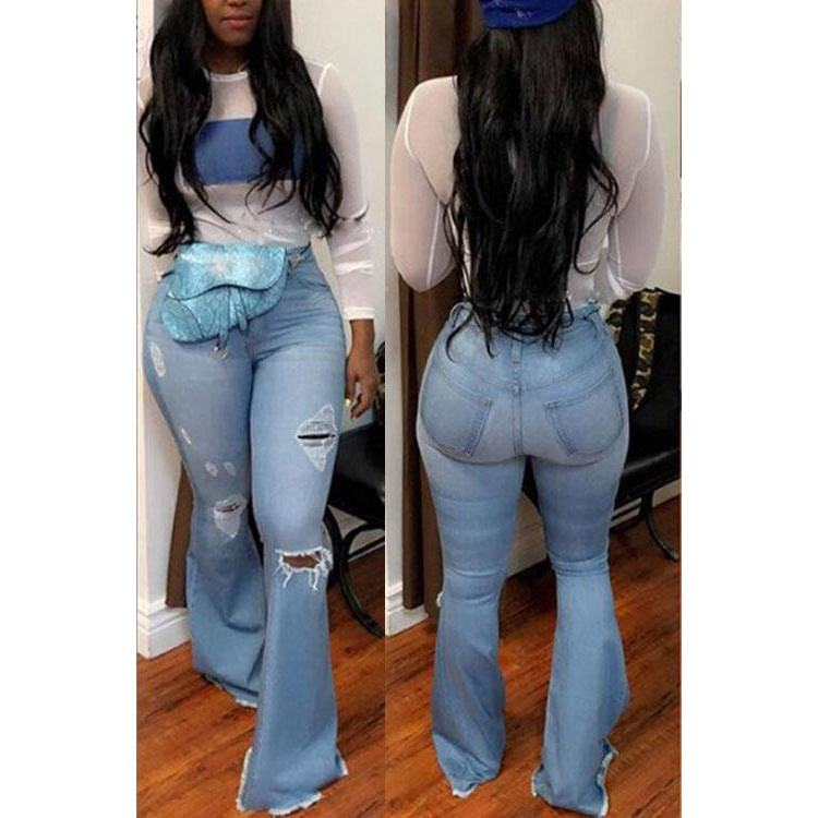 New Summer 2020 Black Blue High Waist Ripped Skinny Flare Jeans Women