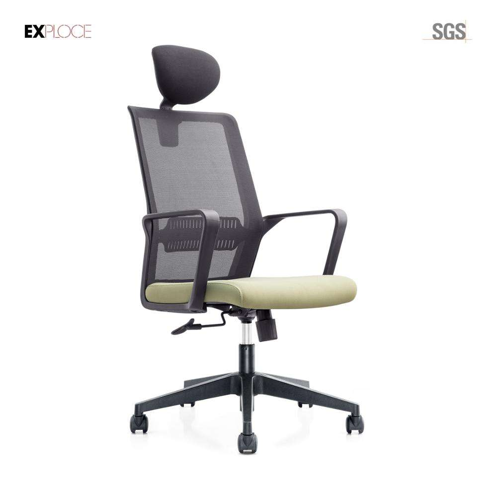 Contemporary design high back black elegant mesh office chair with headrest
