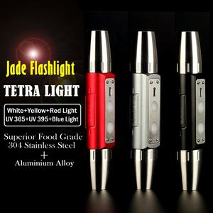 Gems Torch Six Color Light 2.0 USB Rechargeable Stainless Jade LED Flashlight