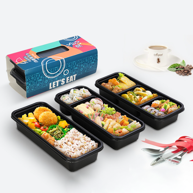 Custom Disposable 3 compartment Bento Meal Container Eco-friendly Food Packaging Plastic Black Japanese Takeaway Lunch Box
