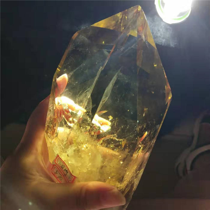0.3-5kg natural yellow/citrine quartz crystal point pillar/wand for decoration or sale or gift