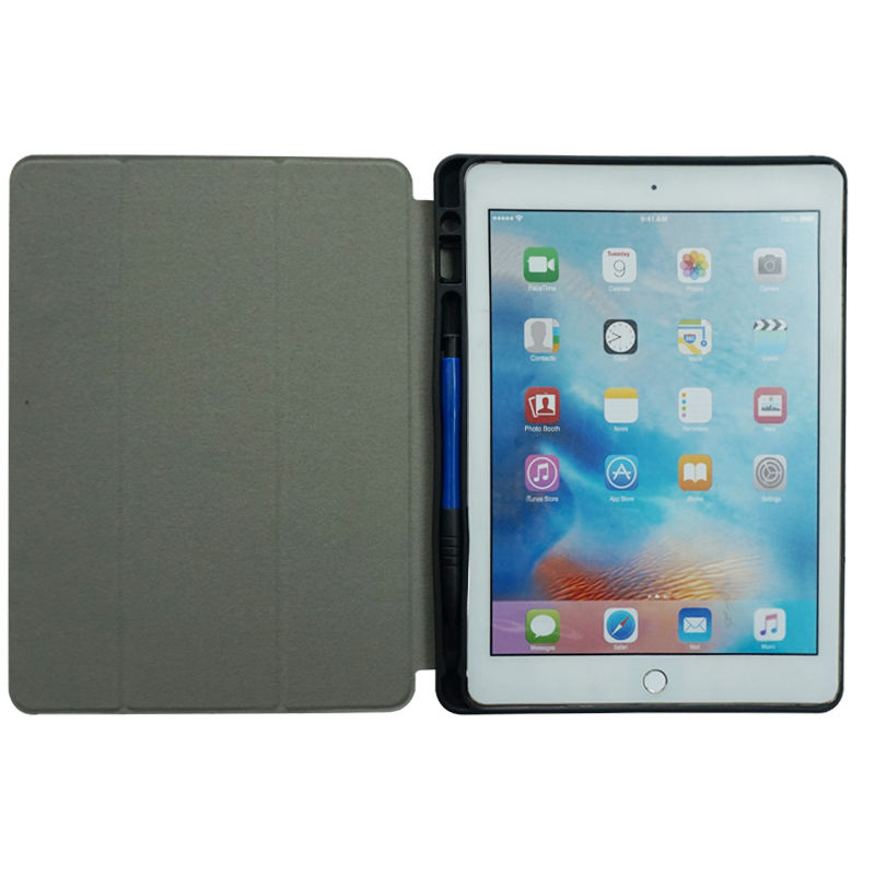 2020 new arrival good hand feel folding stand auto-wake/sleep pu pc flip smart cover kickstand case for ipad 9.7