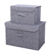 Cotton linen washable storage box foldable car storage bins household sundries storage basket