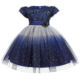 Short Sleeve Design Sequined And Fur Cover Little Girls' Party Dresses Evening Princess Gown Frocks L5161
