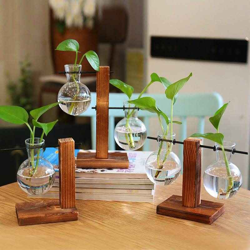 Europe Vintage Style Glass Desktop Plant Flower Pot Christmas Decoration Vase Glass With Wooden Tray
