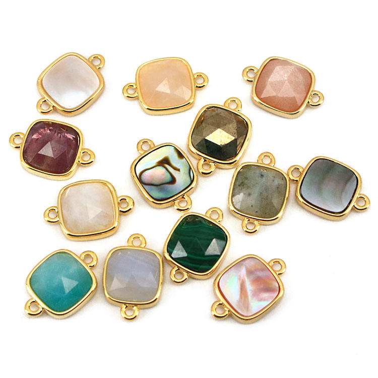 JF8709 Dainty Gold Plated Faceted Natural Labradorite Semiprecious Stone Gemstone Square Bezel Two Ring Connector