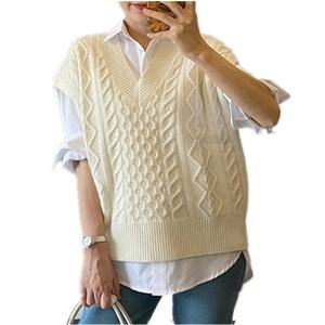 Knitted vest v neck tops sleeveless new style sweater for women