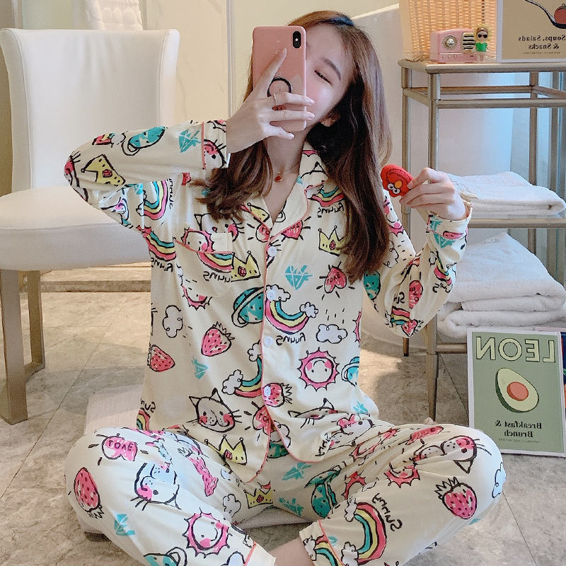 New spring and summer animal ladies pajamas long-sleeved loose open button milk cotton home clothes thin polyester pajamas