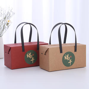 ZL Chinese Vintage Red Creative Wedding Candy Box Cookie Tea Chocolate Eco Friendly Packaging Kraft Paper Bag With Handle