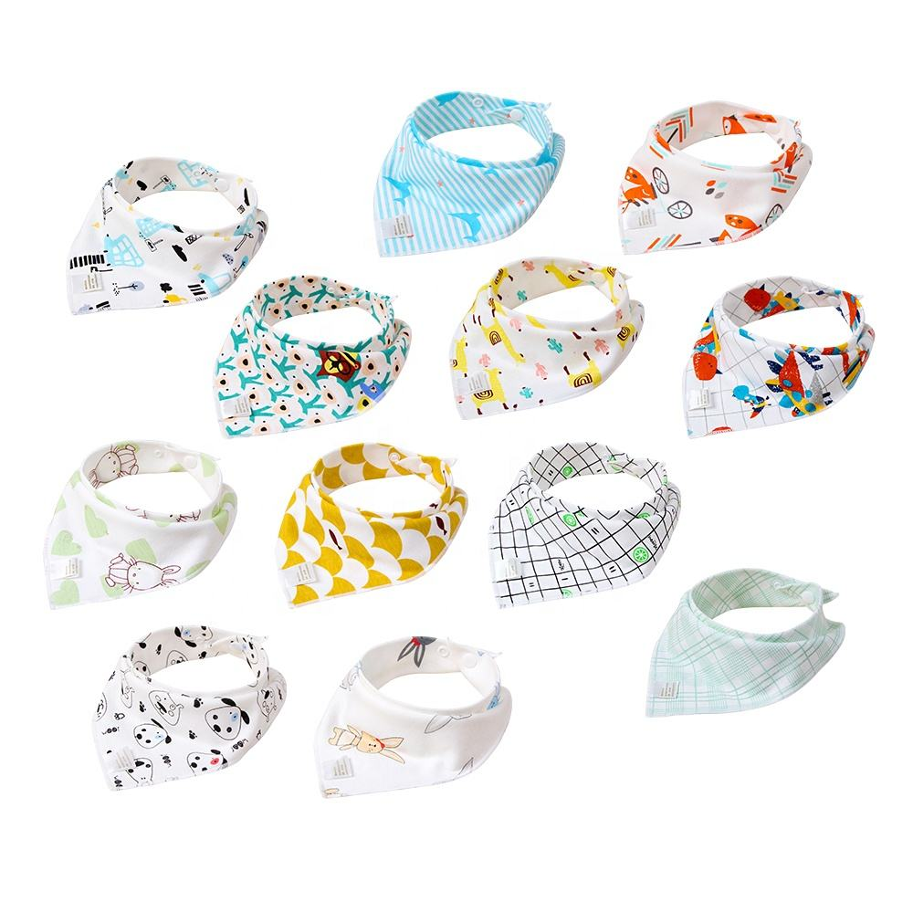 POPOMI 2020 free sample wholesale high quality cotton bandana drool baby accessories bibs for drooling and teething