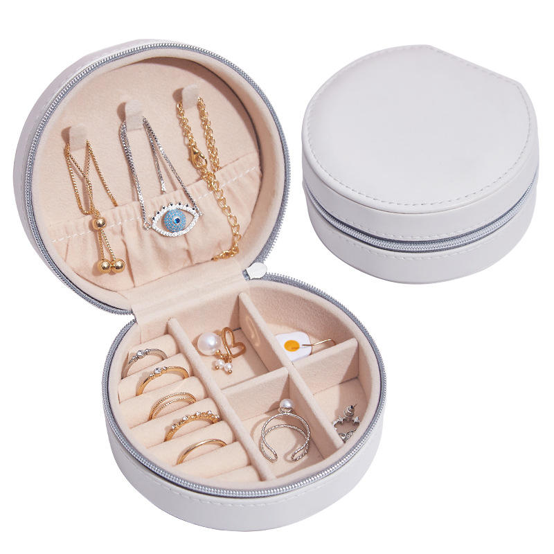 Round Small Ring Necklace Hanging Jewelry Organizer Bracelet Pendant Cotton Luxury Velvet Travel Jewelry Box Organizer