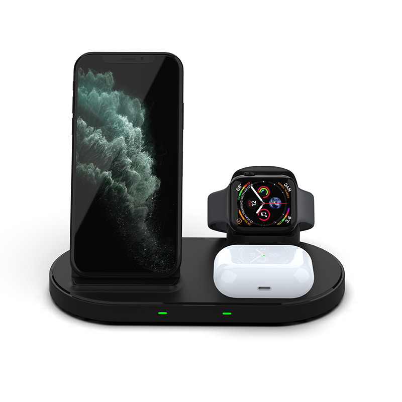 Latest 15W 3 in 1 Cell Phone Qi Wireless Fast Charger For iWatch for Air Pods