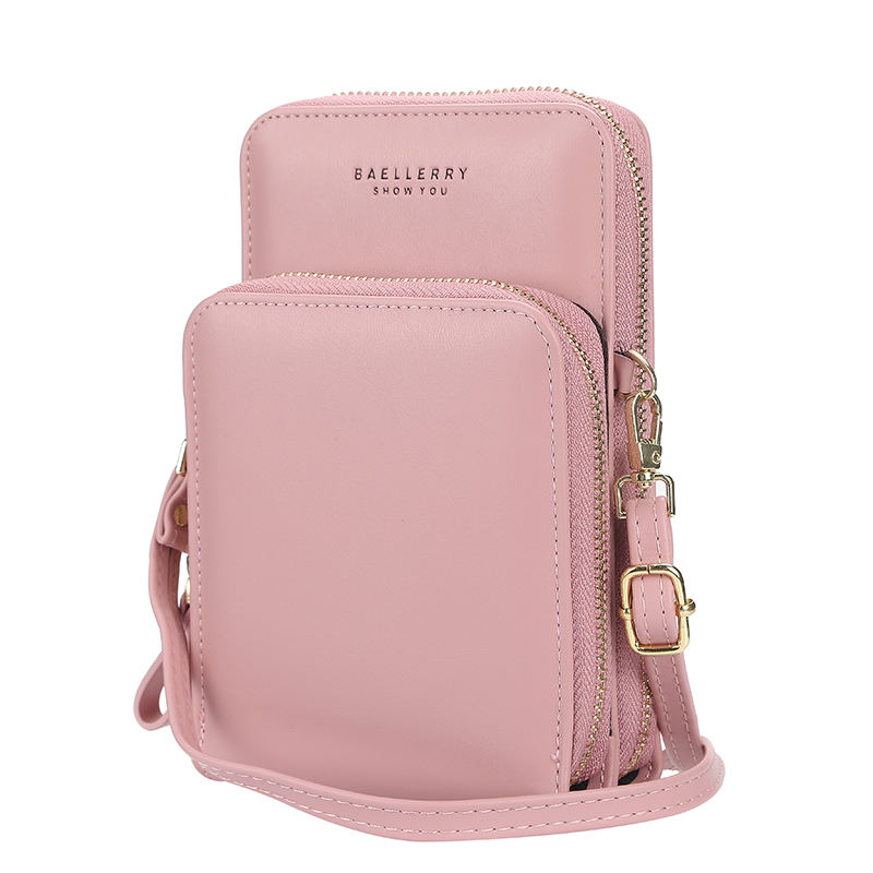 baellerry 2020 Korea Fashion women phone bag with shoulder strap belt,pure color body messenger lady long wallet