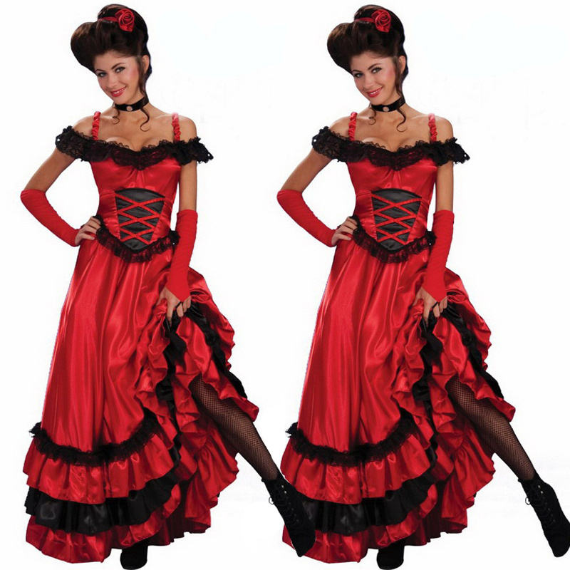 Sexy Spanish Gypsy Red Cancan Lace Dress Women Off Shoulder Party Long Dresses Plus Size Western Saloon Girl Dress