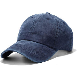 Unisex Best Quality Navy Custom Faded Baseball Vintage Washed 100% Cotton Pigment Dyed Low Profile Dad Hat Six Panel Cap
