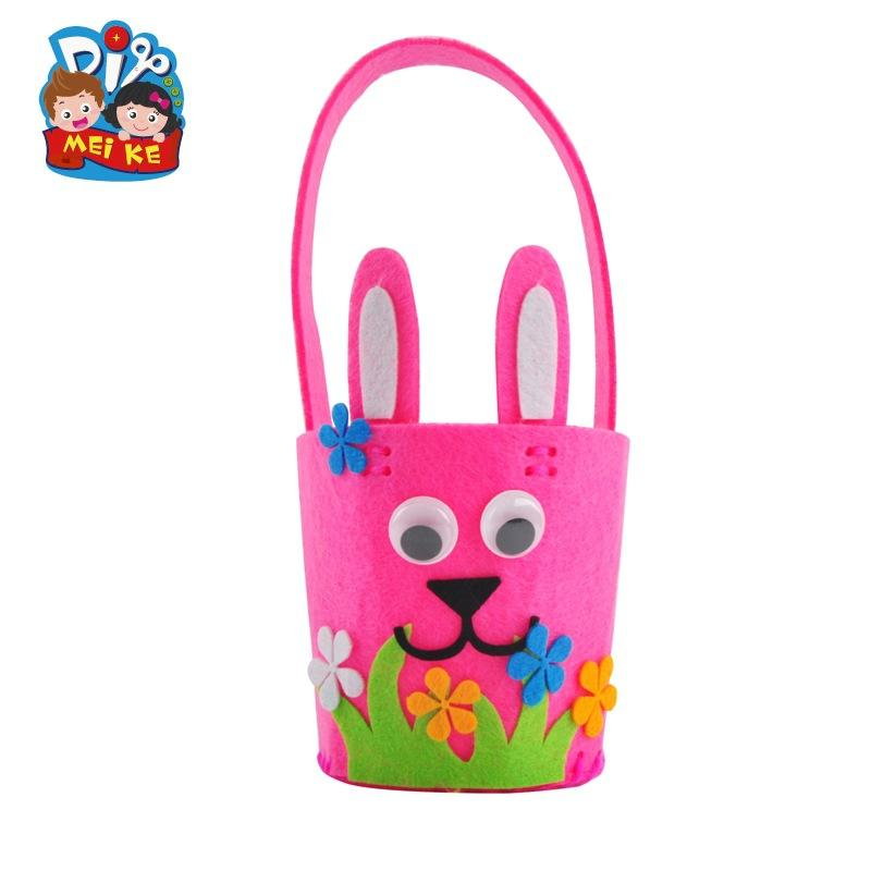 Children's homemade Easter DIY rabbit flower basket bucket and color egg decoration gift