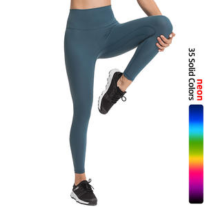 Neon color 80%Nylon 20% spandex buttery soft V high waist workout yoga leggings fitness wear tight pants for women