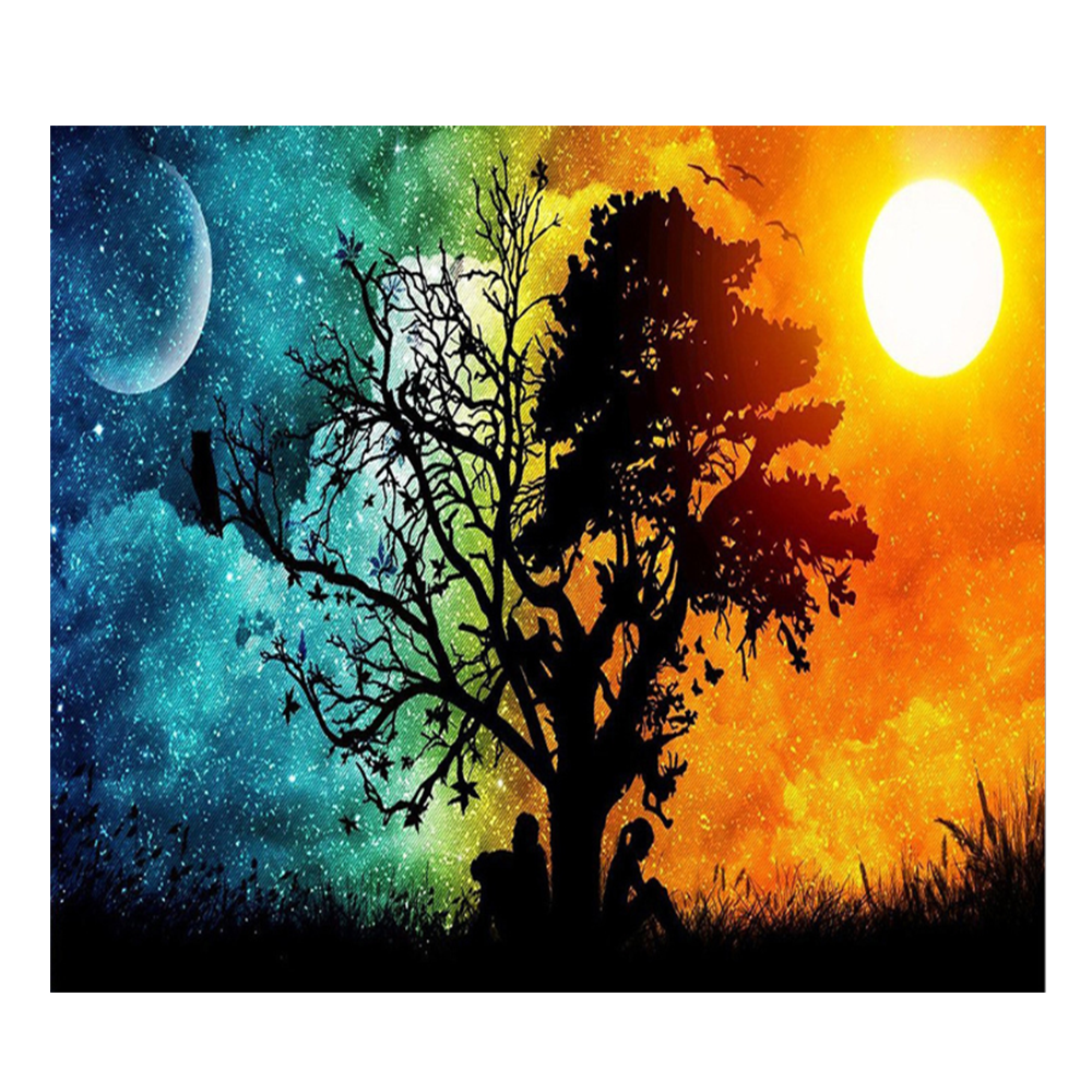 5d diamond Painting kit Sun And moon Tree Scenery handmade painting embroidery Cross Stitch Mosaic Craft Kit Home Decor Gift art