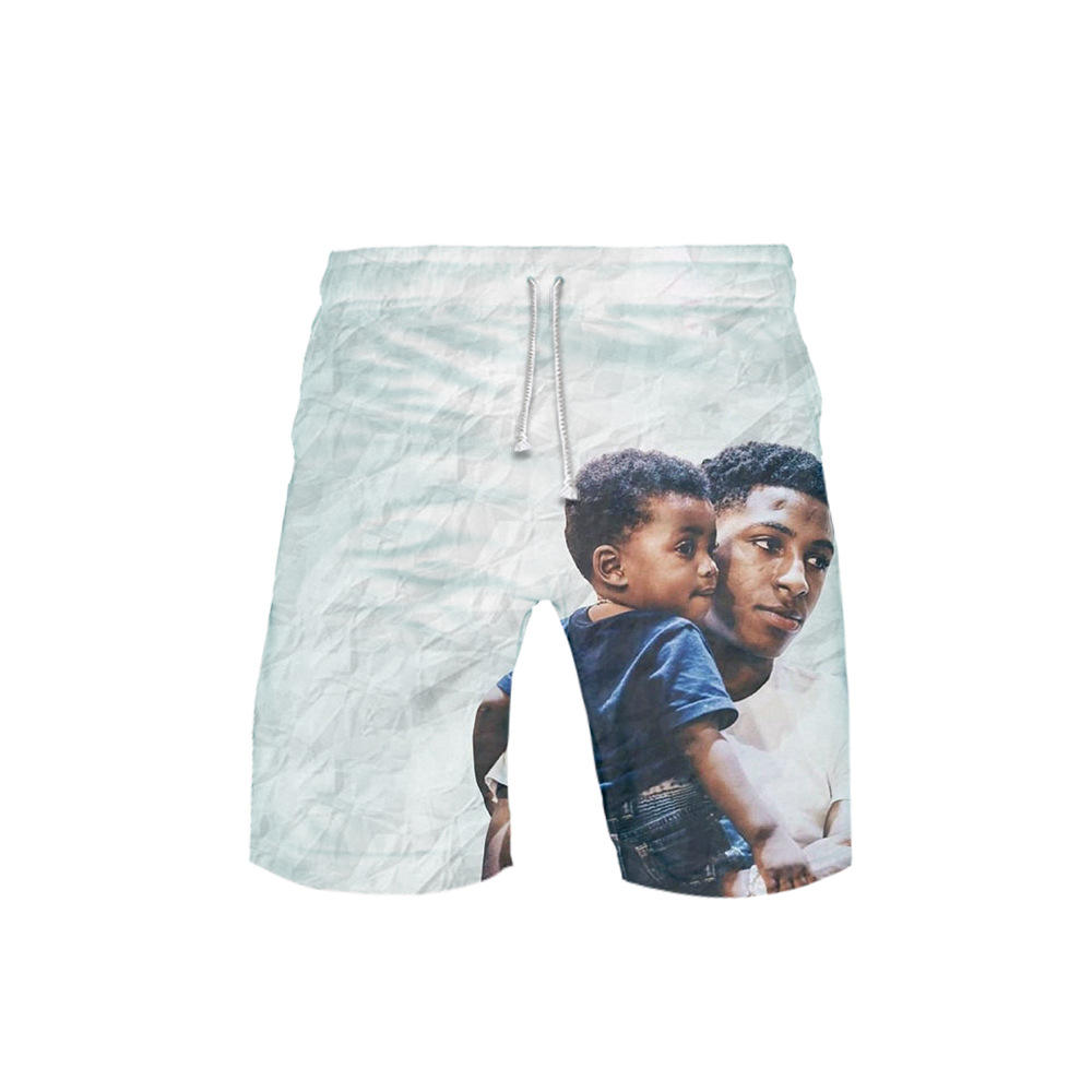 YoungBoy Men's Summer Cartoon 3D Print Loose Beach Running Shorts Male Casual Fitness Quick Drying short