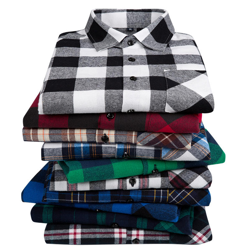 Factory direct sale 100% cotton red mens long sleeve plaid flannel shirt