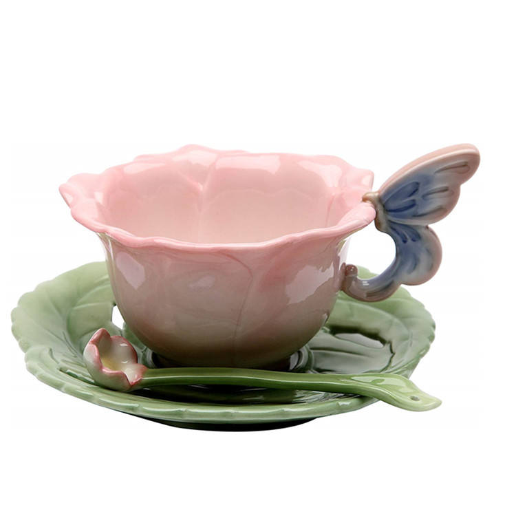 ceramic cup with flower design Ceramic Rose Cup and Saucer, Set of 2