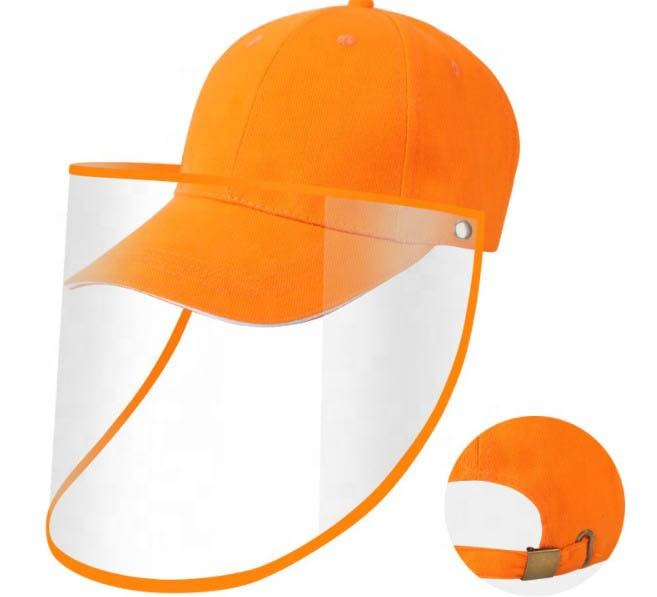 High Quality Anti-Spitting Anti Saliva Anti Pollen Sandwich Visor Baseball Cap with Transparent PVC Face Sheet Shield Protection