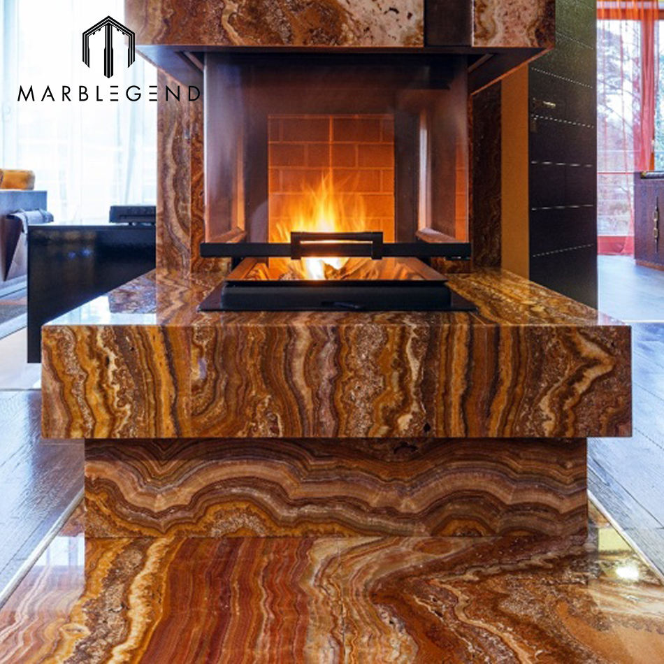 Interior marble design natural wooden vein cutting brown fantasy onyx slab